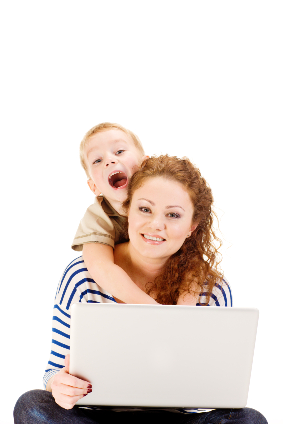 Mother and son with laptop